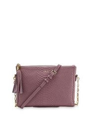 Gigi New York Personalized Hailey Embossed Python Leather Crossbody Bag Tan Purple Pink Grey Black