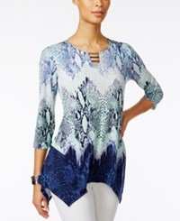 Jm Collection Printed Handkerchief Hem Tunic Only At Macy's Green Indigo Snake