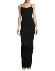 Nicole Bakti Beaded Trim Bodycon Gown Black