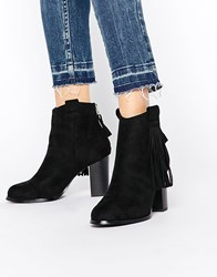 Truffle Collection Seren Fringe Heeled Ankle Boots Blacksuede