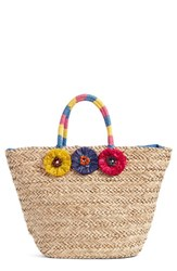 Nordstrom Rosette Bead Seagrass Tote Brown Natural