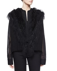Helmut Lang Fur Trim Knit Vest Women's