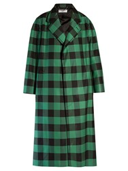 Balenciaga Godfather Bi Colour Checked Oversized Coat Green Multi