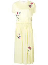 Mira Mikati Embroidered Tulle Back Dress Yellow