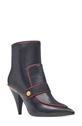 Nine West Women's Westham Pointy Toe Bootie Black Wine Leather