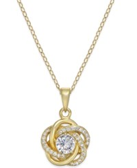 Macy's Cubic Zirconia Love Knot Pendant Necklace In 18K Gold Plated Sterling Silver Yellow Gold