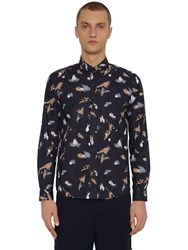 Kenzo Painted Tiger Cotton Poplin Shirt Navy