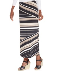 Ny Collection Petite Striped Panel Maxi Skirt