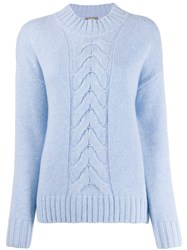 N.Peal Cashmere Cable Knit Jumper Blue