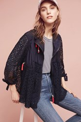 Anthropologie Eyelet Windbreaker Navy