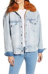 Levi's Oversize Faux Shearling Lined Denim Trucker Jacket With Removable Faux Fur Collar Killing Me Softly