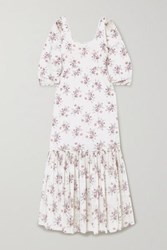 Loveshackfancy Aerin Colby Floral Print Cotton Voile Maxi Dress White