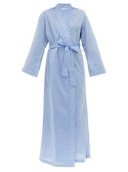 Derek Rose Amalfi Cotton Poplin Robe Blue
