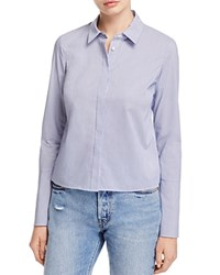 Dylan Gray Cropped Stripe Bell Sleeve Shirt 100 Exclusive White Blue