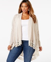 American Rag Plus Size Lace Trim Pointelle Cardigan Only At Macy's Oatmeal