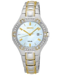 Seiko Women's Solar Sport Two Tone Stainless Steel Bracelet Watch 29Mm Sut282 No Color