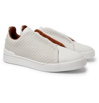 Ermenegildo Zegna Triple Stitch Pelle Tessuta Leather Slip On Sneakers Off White
