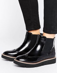 London Rebel Brogue Flat Eva Boot Black Box Pu