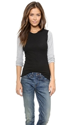 Edith A. Miller Thermal Combo Tee Black Grey