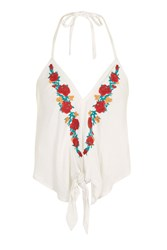 Band Of Gypsies Embroidered Halterneck Top By White