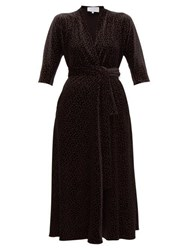 Luisa Beccaria Wrap Effect Polka Dot Print Velvet Midi Dress Black Gold