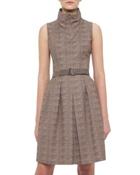 Akris Sleeveless Tortoise Print Belted Shirtdress Elephant
