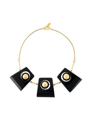 Marni Wood Charm Necklace Black