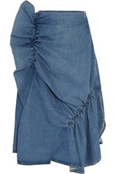 J.W.Anderson Asymmetric Ruffled Denim Midi Skirt Light Denim
