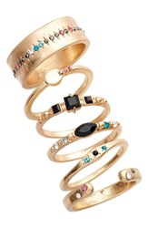 Treasure And Bond Set Of 6 Cocktail Stackable Rings Black Multi Gold