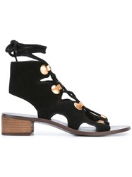 See By Chloe Lace Up Studded Sandals Black