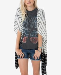 O'neill Juniors' Daze Striped Draped Cardigan White Black