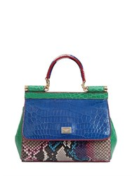 Dolce And Gabbana Small Sicily Reptile Patchwork Bag