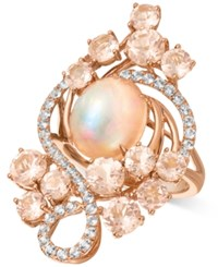 Le Vian Crazy Collection Peach Morganite 3 2 5 Ct. T.W. Opal 2 1 2 Ct. T.W. And White Topaz 7 10 Ct. T.W. Ring In 14K Rose Gold Pink