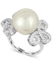 Majorica Sterling Silver Imitation Pearl And Pave Ring White