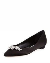 Manolo Blahnik Lurum Crystal Embellished Satin Flat Black