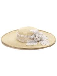 Martha Medeiros Embroidered Wide Brim Hat Polyester Straw