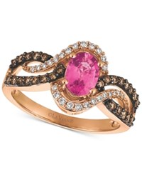 Le Vian Chocolatier Bubblegum Pink Sapphire 3 4 Ct. T.W. And Diamond 1 2 Ct. T.W. Ring In 14K Rose Gold