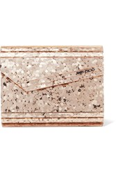 Jimmy Choo Candy Leather Trimmed Glittered Acrylic Clutch Gold