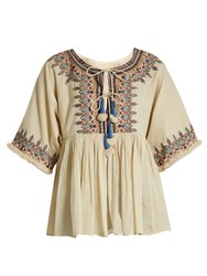 Velvet By Graham And Spencer X Kirsty Hume Dahlia Embroidered Cotton Top Cream Multi