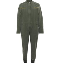 Greg Lauren Slub Cotton Boiler Suit Green