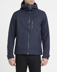 Knowledge Cotton Apparel Navy Windproof Technical Zipped Jacket Blue
