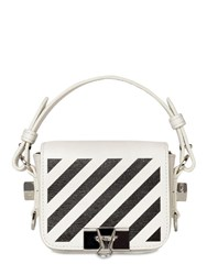 Off White Printed Stripe Baby Leather Shoulder Bag White