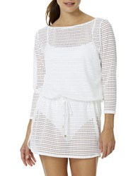 Anne Cole Solid Crochet Coverup White