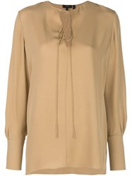Theory Tie Fastening Blouse Neutrals