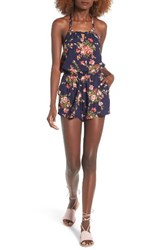 Angie Women's Floral Print Halter Romper