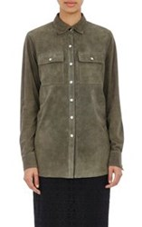 R Fifteen Suede Snap Front Shirt Green