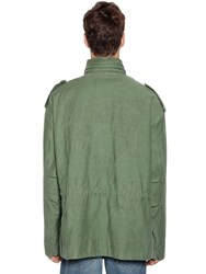 Off White Logo Padded Cotton Field Jacket Military Green