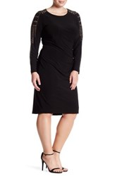 Marina Long Sleeve Studded Dress Plus Size Black