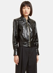 Lanvin Cracked Patent Leather Jacket Black