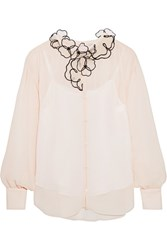 See By Chloe Organza Appliqued Crinkled Georgette Blouse White